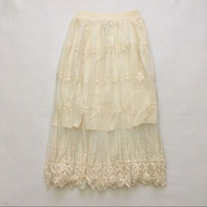 Astr Cream Embroidered Lace Overlay Midi Skirt L